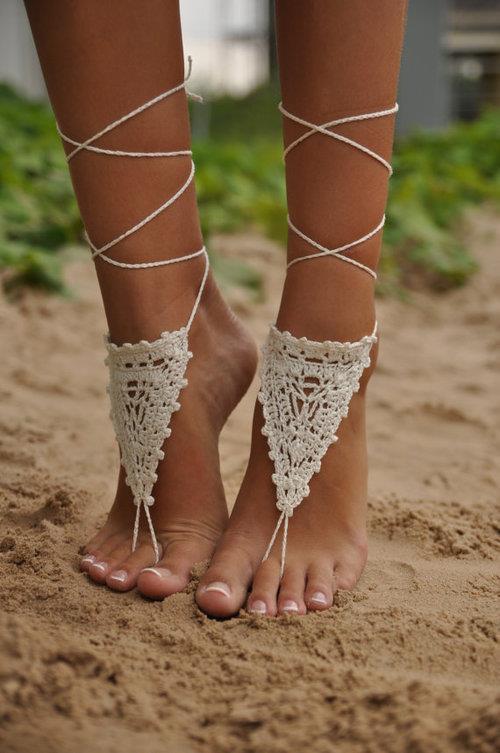 horgolt lábdísz